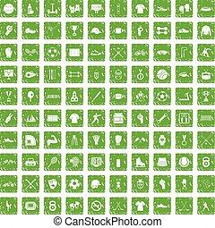 100 athlete icons set grunge green - 100 athlete icons set...