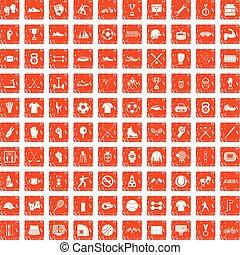 100 athlete icons set grunge orange - 100 athlete icons set...