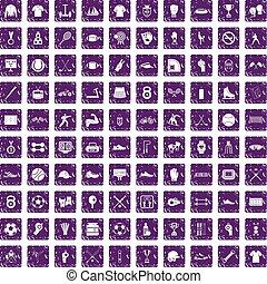 100 athlete icons set grunge purple - 100 athlete icons set...