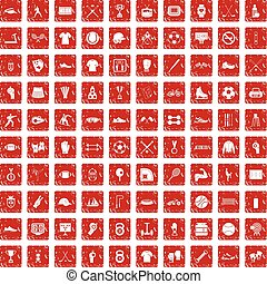 100 athlete icons set grunge red - 100 athlete icons set in...