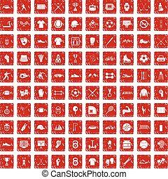 100 athlete icons set grunge red - 100 athlete icons set in...