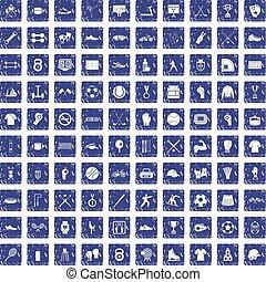 100 athlete icons set grunge sapphire - 100 athlete icons...