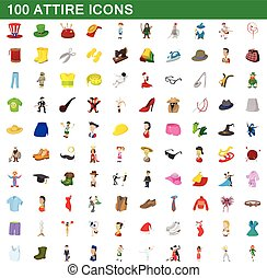 100 attire icons set, cartoon style