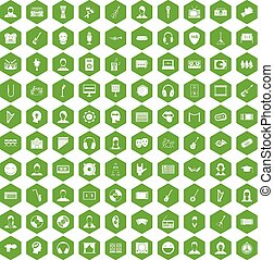 100 audience icons hexagon green