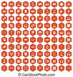 100 audience icons hexagon orange