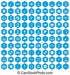 100 audience icons set blue