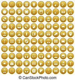 100 audience icons set gold