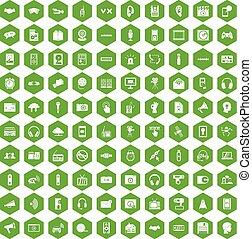 100 audio icons hexagon green