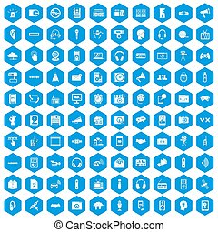 100 audio icons set blue