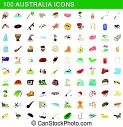100 australia icons set, cartoon style