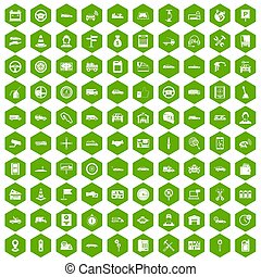 100 auto icons hexagon green