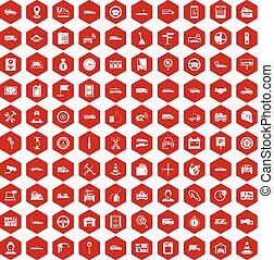 100 auto icons hexagon red