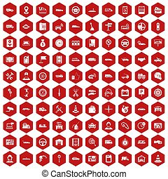 100 auto icons hexagon red