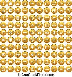 100 auto icons set gold