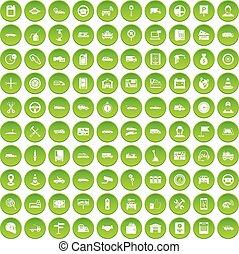 100 auto icons set green
