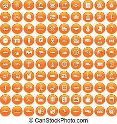 100 auto icons set orange