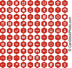 100 auto repair icons hexagon red