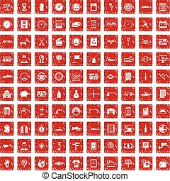 100 auto repair icons set grunge red