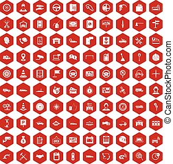 100 auto service center icons hexagon red