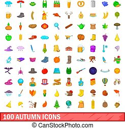 100 autumn icons set, cartoon style