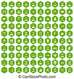 100 avatar icons hexagon green