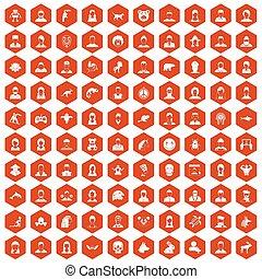 100 avatar icons hexagon orange