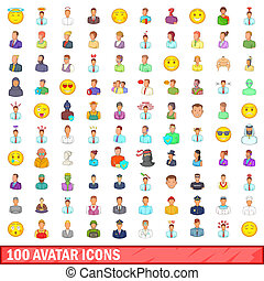 100 avatar icons set, cartoon style