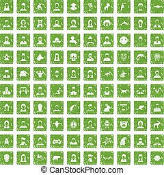 100 avatar icons set grunge green