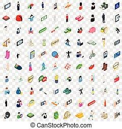 100 avatar icons set, isometric 3d style