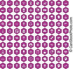 100 aviation icons hexagon violet