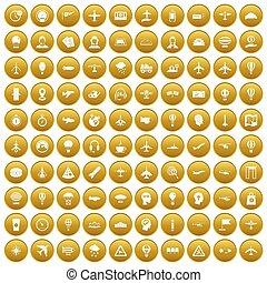 100 aviation icons set gold
