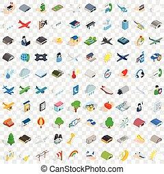 100 aviation icons set, isometric 3d style