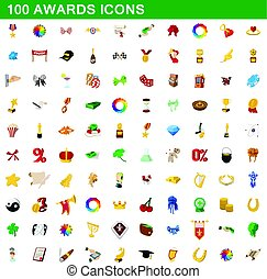 100 awards icons set, cartoon style
