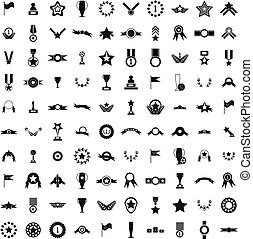 100 Awards icons set, simple style