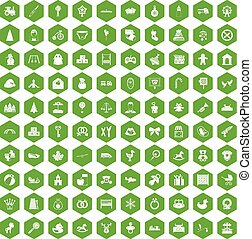 100 baby icons hexagon green