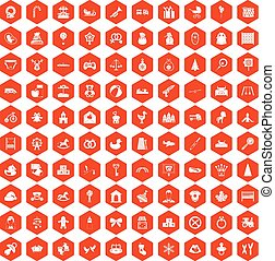100 baby icons hexagon orange