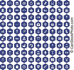 100 baby icons hexagon purple