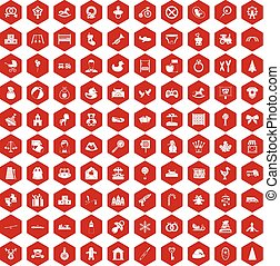 100 baby icons hexagon red