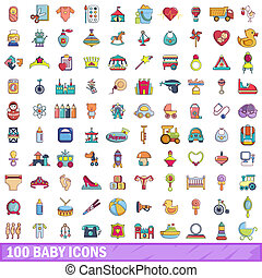 100 baby icons set, cartoon style