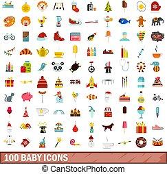 100 baby icons set, flat style