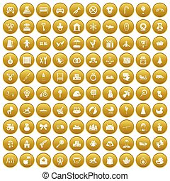 100 baby icons set gold