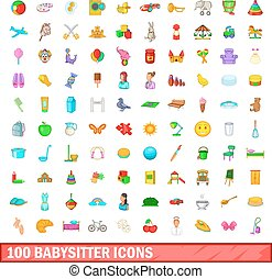 100 babysitter icons set, cartoon style