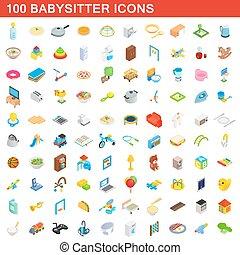 100 babysitter icons set, isometric 3d style