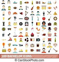 100 bachelor icons set, flat style