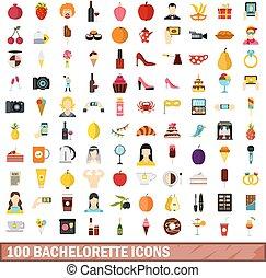 100 bachelorette icons set, flat style