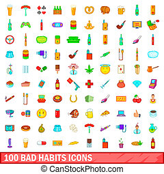 100 bad habits icons set, cartoon style