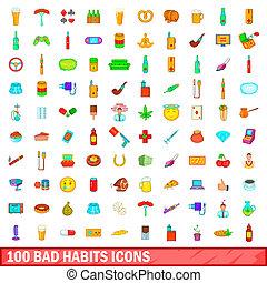 100 bad habits icons set, cartoon style