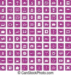 100 bag icons set grunge pink