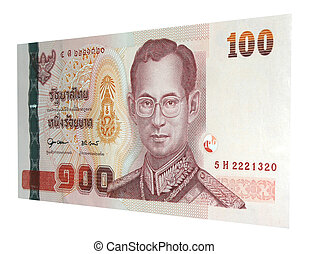 100 baht note on white background
