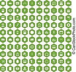 100 bakery icons hexagon green